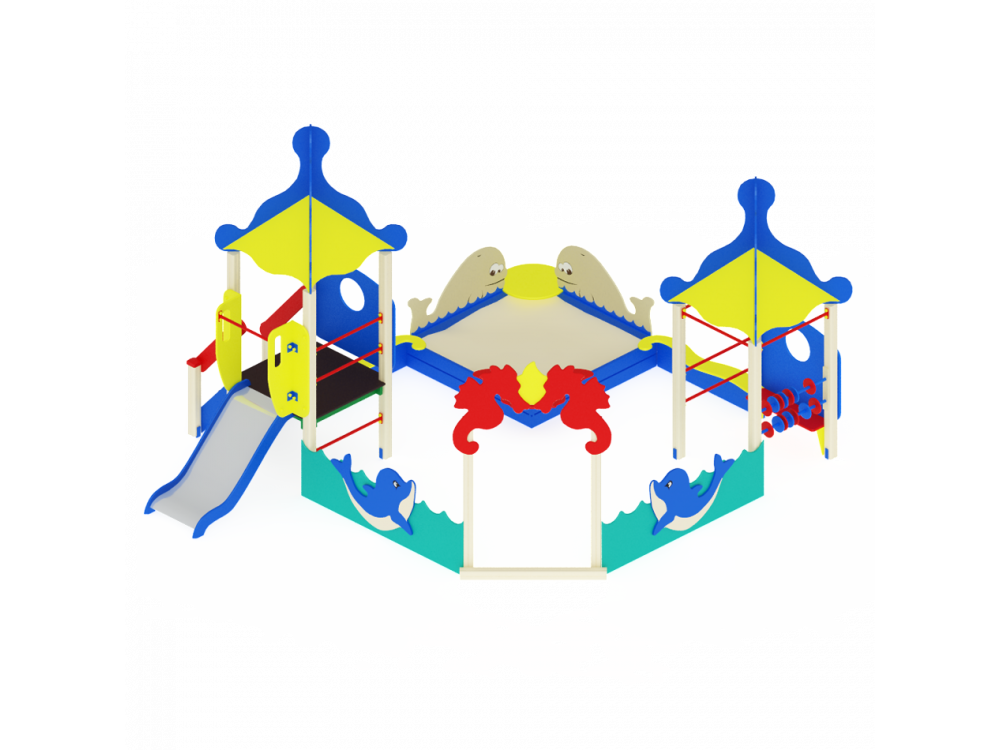 Песочный дворик Морской с горкой ИО 542