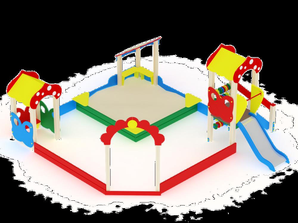 Песочный дворик Полянка с горкой ИО 545
